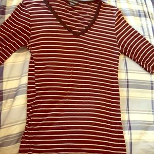Burgundy and black striped quarter sleeve top